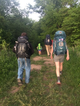 Hiking in to site 1